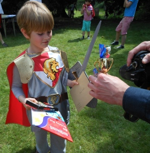 receiving his prizes
